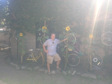 Dustin with his sunflowers